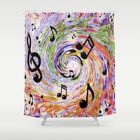 music notes Shower Curtains featuring Music Notes by gretzky