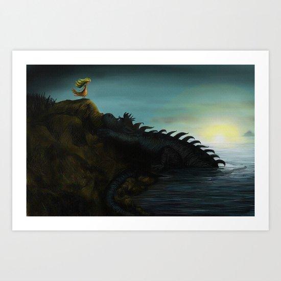 The Girl and the Dragon Art Print