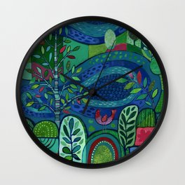 Bird by the Pond Wall Clock