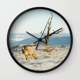Fox in the snow wildlife Wall Clock
