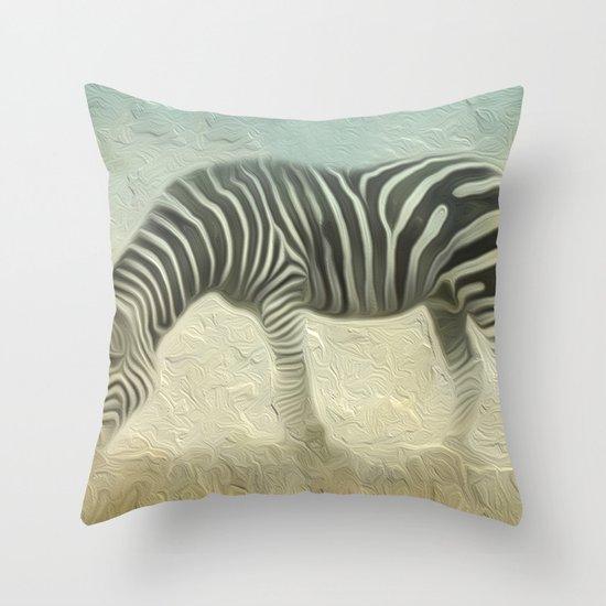 Zebra grazing Throw Pillow