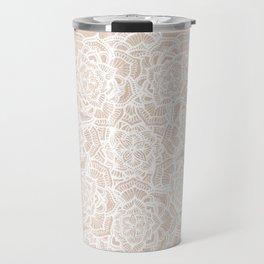 Modern boho Love Mandala pattern - Terracotta cream Travel Mug