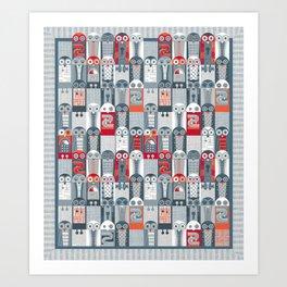 Tin Pot Owl-Bot Art Print