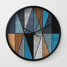 Colorful triangles - blue, grey, brown Wall Clock