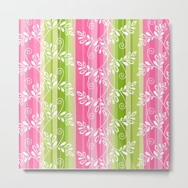 Green and pink floral Metal Print