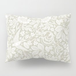 Vintage Elegant White Ivory Cream Swallows Floral Pillow Sham