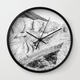 European City Ruins | Ephesus Carved Statue Rock Black and White Muted Gray Historical Wanderlust Wall Clock