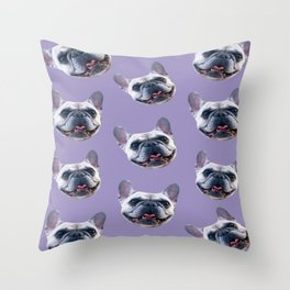 light purple dog pattern cute puppy french bulldog Throw Pillow