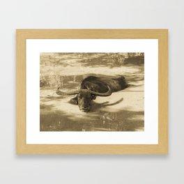 CARABAO AT TINAGA INARAJAN SEPIA TONE Framed Art Print