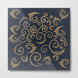 Golden Swirls Metal Print