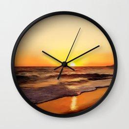 Sea sunset landscape Ionian sea Greece Wall Clock