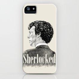 Sherlocked - Sherlock Holmes Benedict Cumberbatch Crosshatch Etching iPhone Case