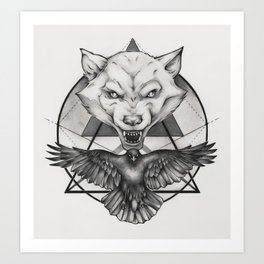 Wolf and Crow - Emblem Art Print