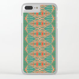 LOU - Pearl and Maude | Turquoise Blue Green Coral Peach Ornate Stripe Clear iPhone Case