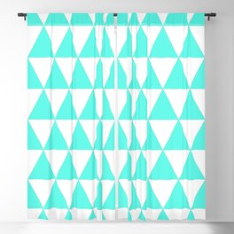 Triangles (Turquoise & White Pattern) Blackout Curtain