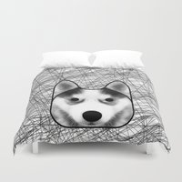 husky Duvet Covers featuring Husky dog by lllg