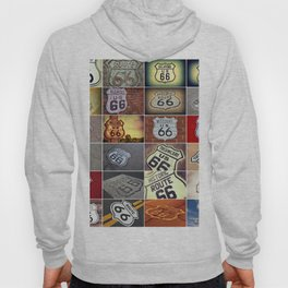 Historic U.S. old Route 66 signs. Hoody