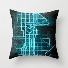 Scottsdale, AZ, USA, Blue, White, Neon, Glow, City, Map Throw Pillow