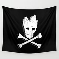 groot Wall Tapestries featuring Groot & Bones by The Cracked Dispensary