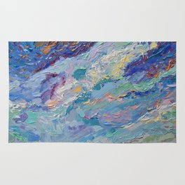 Summer Clouds - impressionism abstract summer nature landscape by Adriana Dziuba Rug