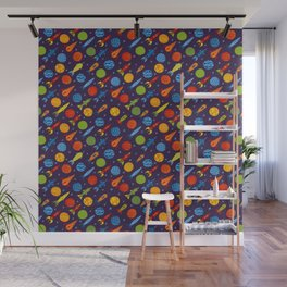 Pattern with rockets Wall Mural