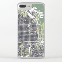 Buenos aires city map engraving Clear iPhone Case