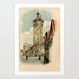 Aquarelle watercolor Rothenburg ob der Taube Bavaria Germany Art Print