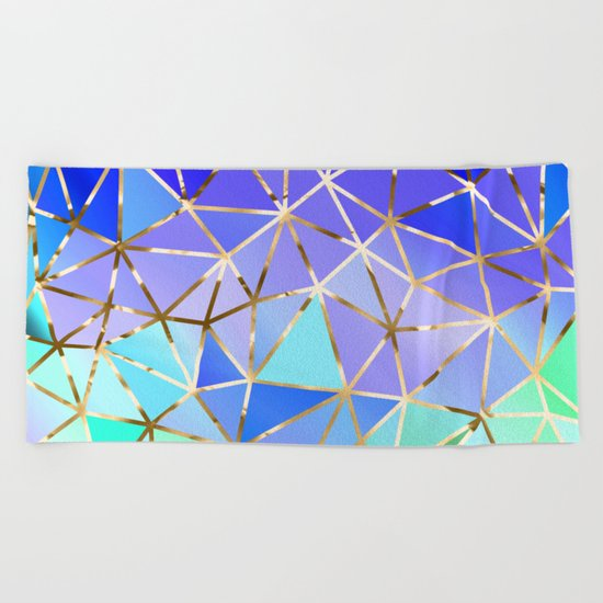 Rainbow Geometric pattern #3 Beach Towel