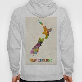 New Zealand, Watercolor Map Hoody