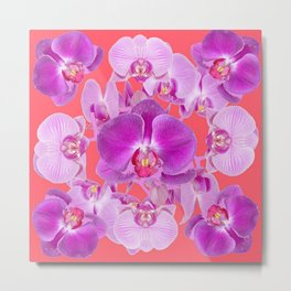 Pink & Purple Orchids Coral Colored Art Patterns Metal Print