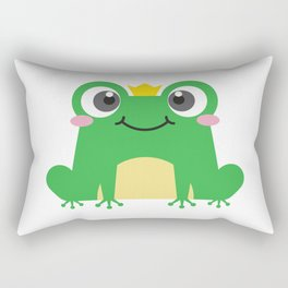 Cute cartoon frog is sitting with crown Rectangular Pillow
