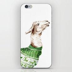 Llama in a Green Deer Sweater iPhone Skin