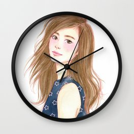 Be a star - watercolor art, girl drawing, girl portrait Wall Clock