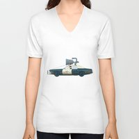 blues brothers V-neck T-shirts featuring The Blues Brothers Bluesmobile 1/3 by Staermose