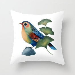 Ginkgo Bird Throw Pillow