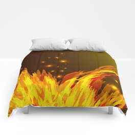 A bonfire with tongues of flame and sparks for the design of summer night ideas. For postcards and f Comforters