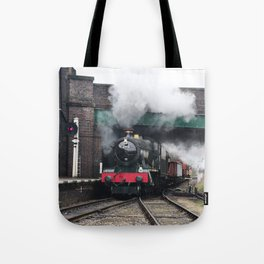 Vintage Steam Railway Train at the Station Tote Bag