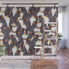 King Penguins Watercolour repeat Pattern Wall Mural