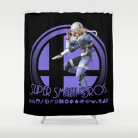 super smash bros Shower Curtains featuring Sheik - Super Smash Bros. by Donkey Inferno