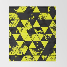 Splatter Triangles In Black And Yellow Throw Blanket