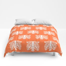 Human Rib Cage Pattern Orange Comforters