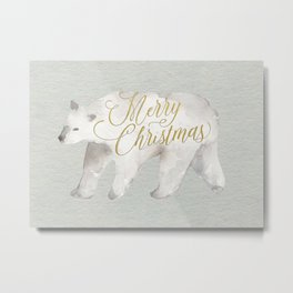 Watercolor Polar Bear Merry Christmas Modern Brush Script Greeting Card Metal Print