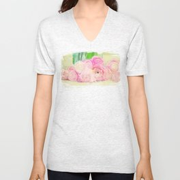Pretty Pink Posies -- Abstract Painterly Floral with Ranunculus Stylized Unisex V-Neck