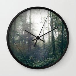 Foggy Forest Path Wall Clock