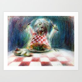 Cooking for the Family Dog Art Print