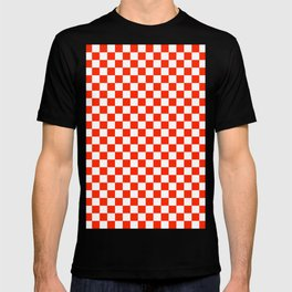 White and Scarlet Red Checkerboard T-shirt