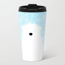 Its A Polar Bear Blinking In A Blizzard - Blue Travel Mug