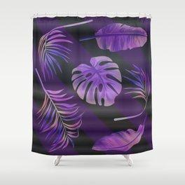 Purple palm leaves Shower Curtain