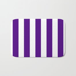 Indigo violet - solid color - white vertical lines pattern Bath Mat