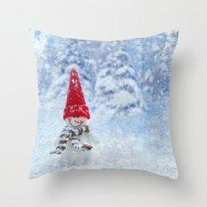 Red Cute Snowman frozen freeze Throw Pillow
